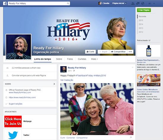 Hillary no Facebook