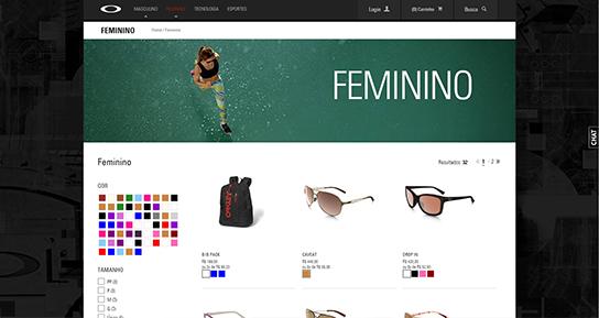 No site acima, pode-se comprar produtos com base nas suas cores. A disposição da palheta em local de destaque, bem como o tamanho dos quadrados, ajudam a sinalizar a funcionalidade.