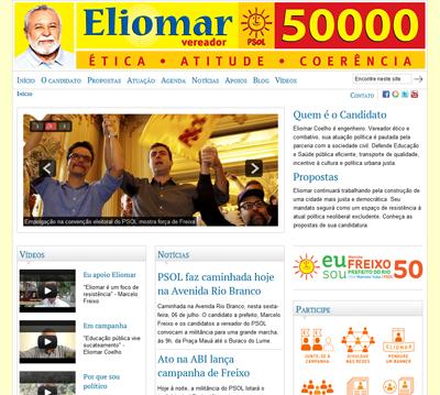 Vereador Eliomar Coelho, site de campanha