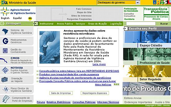 Site da Agência Nacional de Vigilância Sanitária - organização de informações pode satisfazer diversos segmentos de público