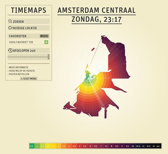 O mapa de Amsterdam neste aplicativo sinaliza por meio das cores as distâncias das áreas urbanas em relação ao centro da cidade.