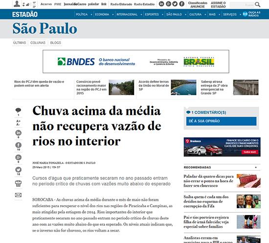 Os links relacionados à matéria principal, sobre a incidência de chivas e volume de água nos reservatórios de São Paulo, estão localizados no alto do título. (acesso em 28.5.2015)