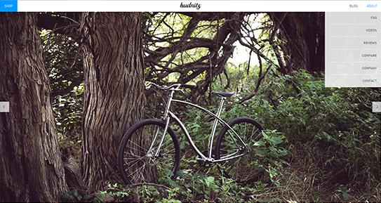 A página principal pode ter apenas elementos básicos, como uma foto, que identifiquem o produto em questão. Neste caso, vender bicicletas para trekking.