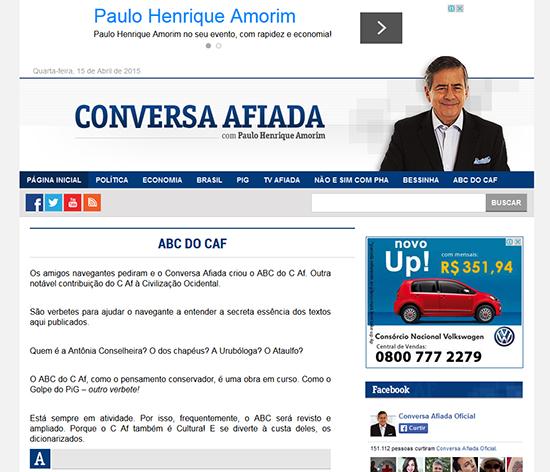"""No site Conversa Afiada, Paulo Henrique Amorim usa termos de uso restrito do site, como (na barra de navegação) """"PIG"""", """"Bessinha"""". A pedido dos leitores, incluiu um glossário, para esclarecer termos como estes. barra de navegaç"""